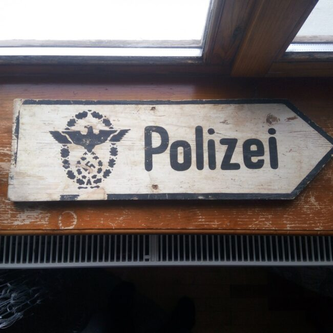 Rare wooden signpost of the German military police