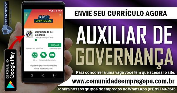 AUXILIAR DE GOVERNANÇA HOSPITALAR COM SALÁRIO R$ 1087,00 NO RECIFE