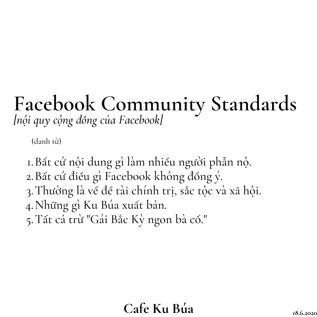 KU BÚA BỊ REPORT 16.8.2020 – FACEBOOK COMMUNITY STANDARDS