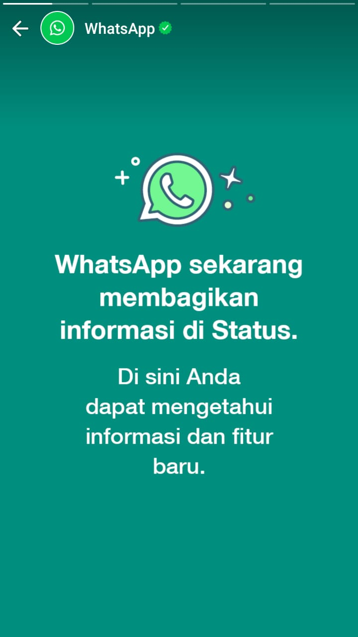 Slide pertama update status dari WhatsApp.