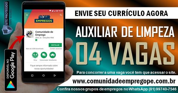 AUXILIAR DE LIMPEZA, 04 VAGAS PARA EMPRESA EM PONTE DOS CARVALHOS