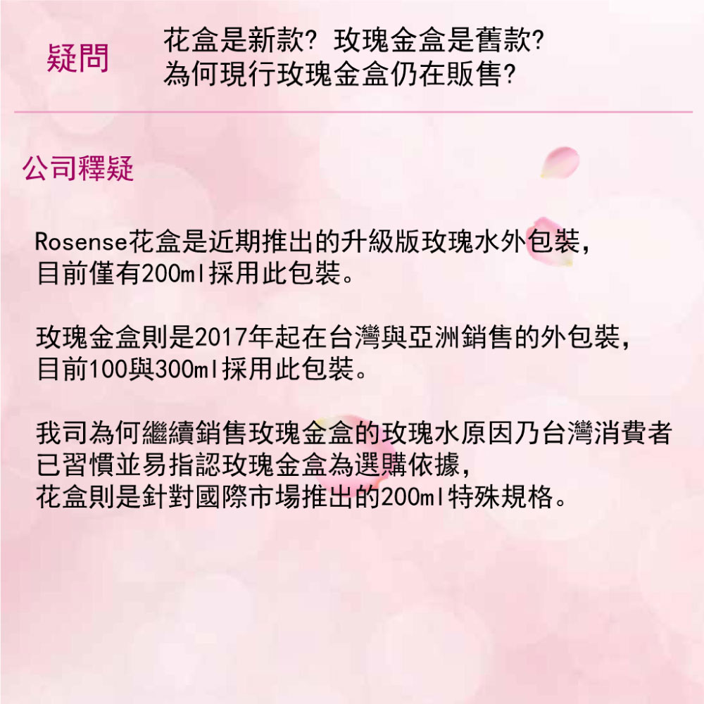 Rosense花盒是新包裝,僅有200ml採用此包裝。玫瑰金盒是台灣與亞洲銷售的外包裝。