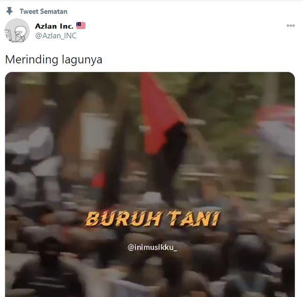 Warganet Malaysia bagikan lagu Buruh Tani di Twitter.