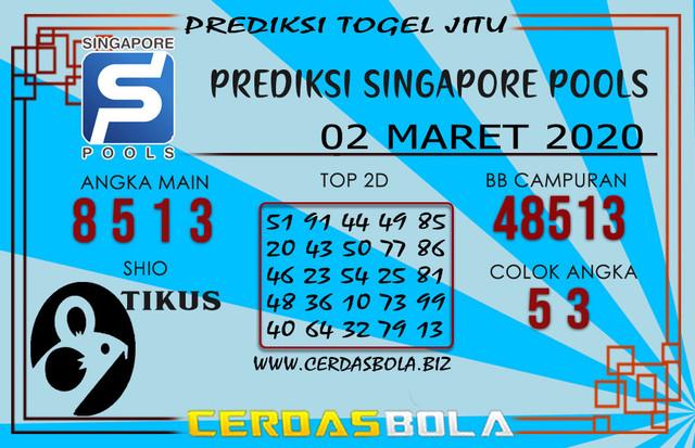Prediksi Togel SINGAPORE CERDASBOLA 02 MARET 2020