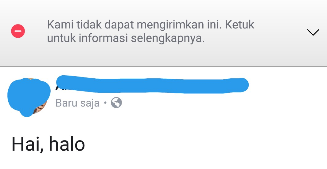 Tampilan Facebook saat error.