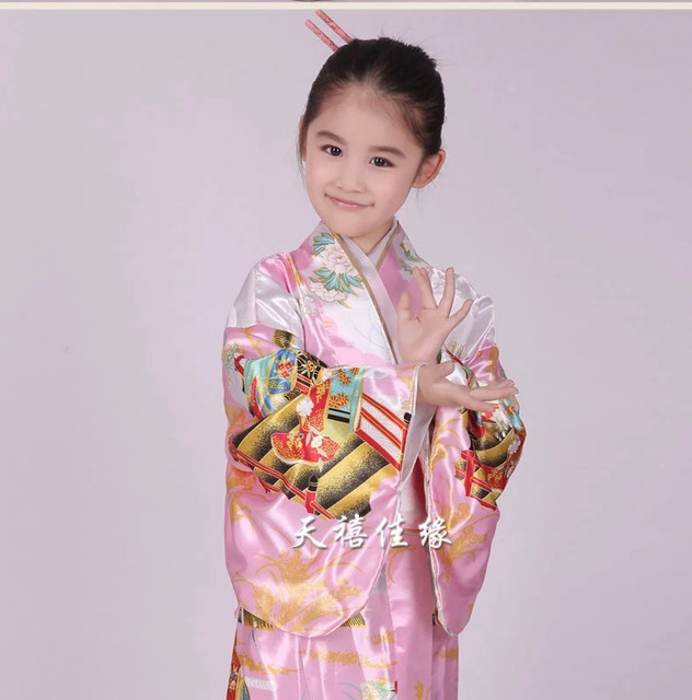 Sobre Cães e Lobos PINK-Vintage-Japanese-kids-Kimono-Yukata-Haori-Costume-Retro-women-Dress-Obi-Cosplay-Gown-for-girls