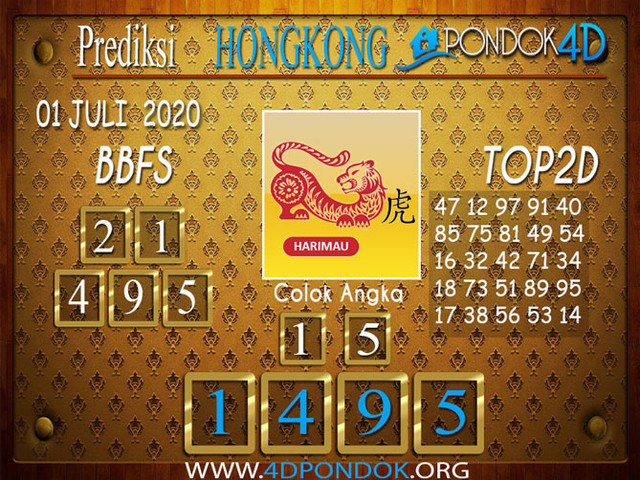 Prediksi Togel HONGKONG PONDOK4D 01 JULI 2020