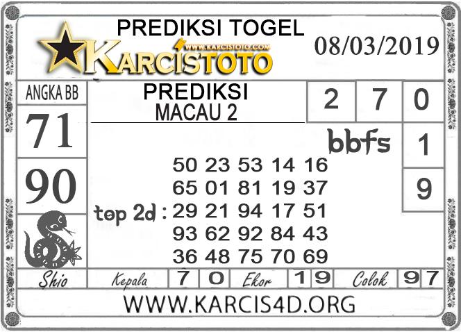 Prediksi Togel MACAU 2 KARCISTOTO 08 MARET 2019