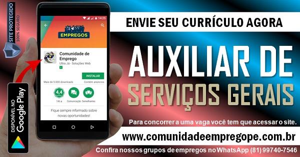 AUXILIAR DE SERVIÇOS GERAIS COM SALÁRIO DE R$ 1054,51 PARA CLINICA NO RECIFE