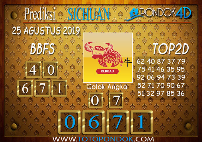 Prediksi Togel SICHUAN PONDOK4D 25 AGUSTUS 2019