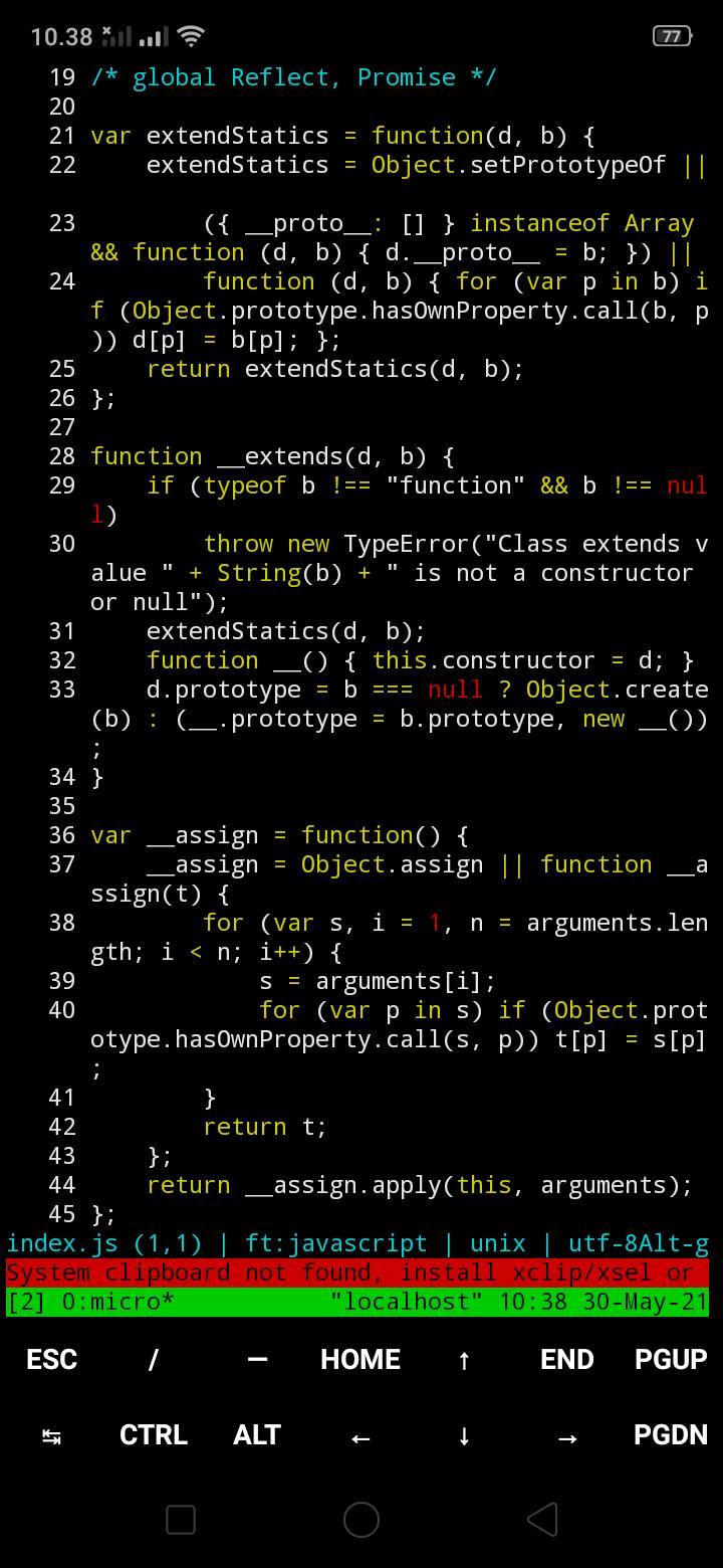 micro membuka file JavaScript