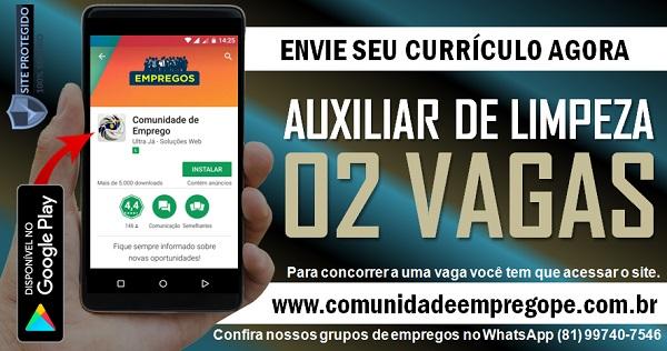 AUXILIAR DE LIMPEZA, 02 VAGAS PARA EMPRESA DE TERCEIRIZAÇÃO