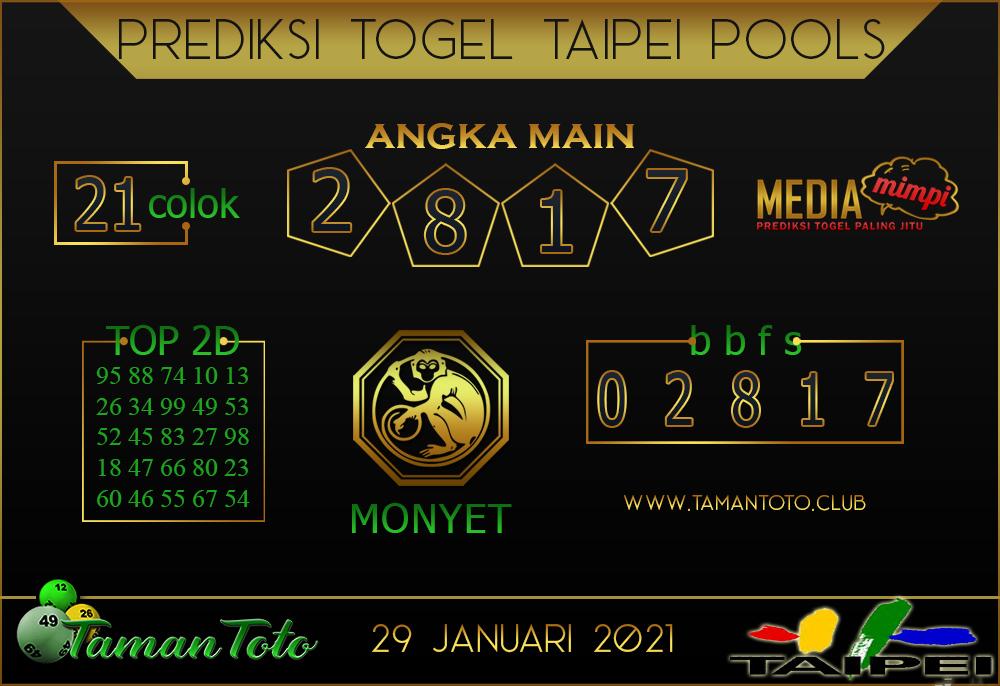 Prediksi Togel TAIPEI TAMAN TOTO 29 JANUARI 2021