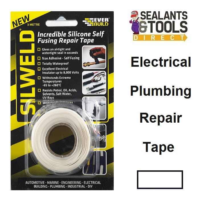 Everbuild SILWELD White Silicone Self Fusing Repair Tape 2SILWELD3WE
