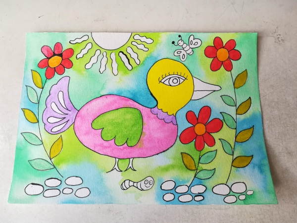 folk art bird