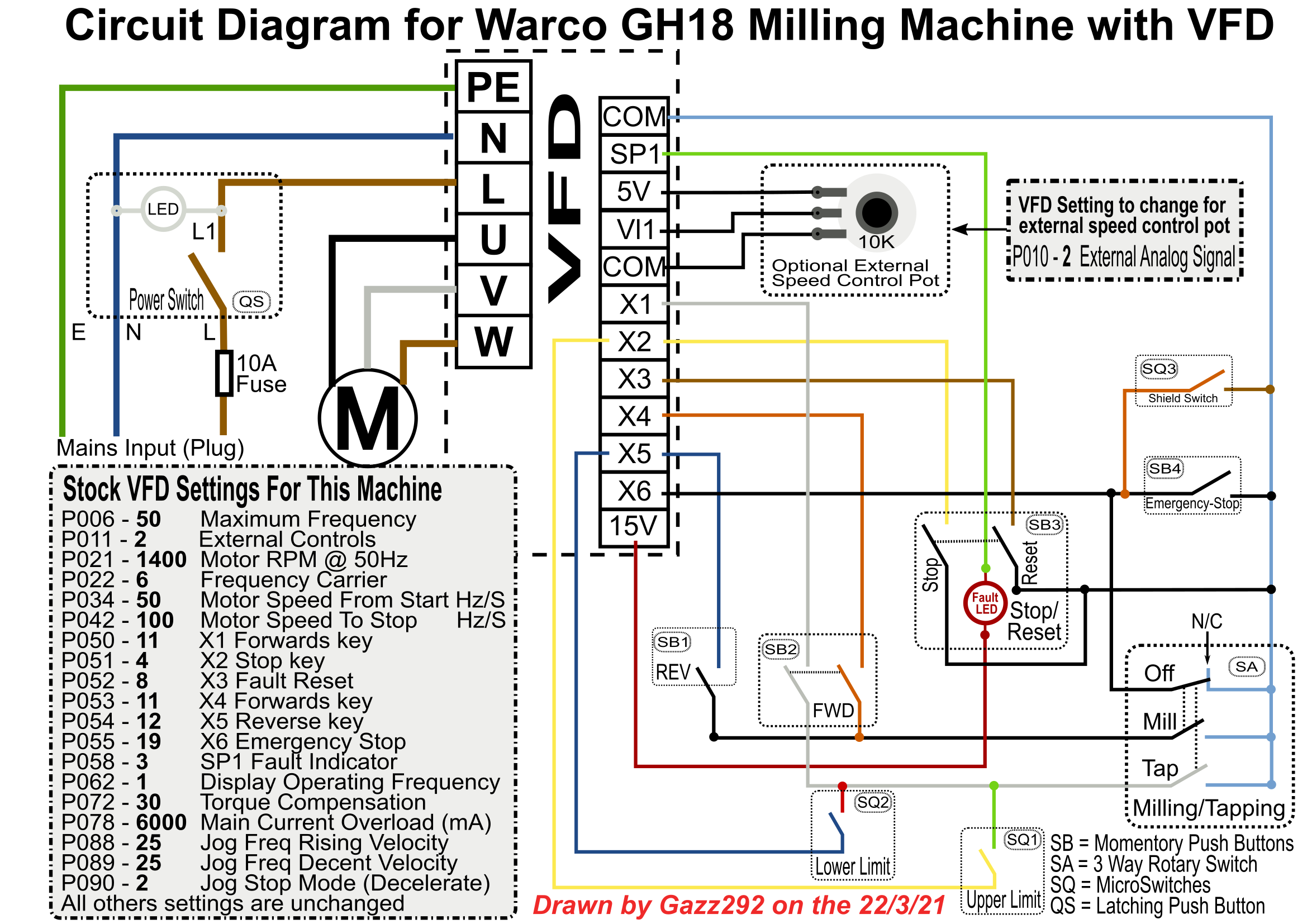 Warco GH18 Wiring Diagram