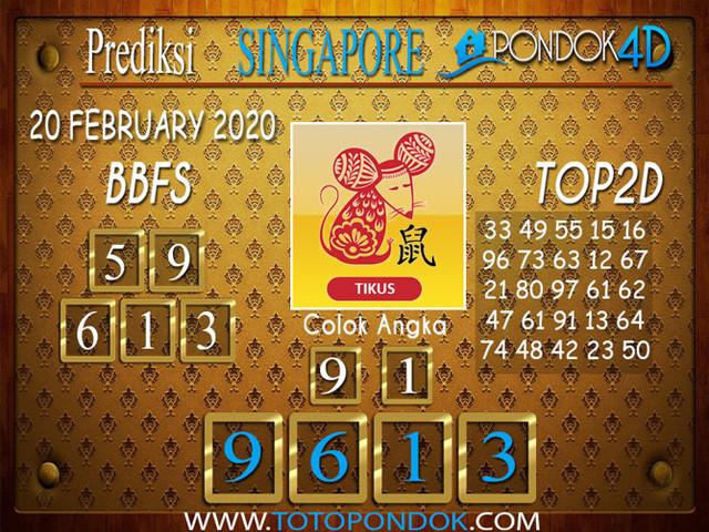 Prediksi Togel SINGAPORE PONDOK4D 20 FEBRUARY 2020