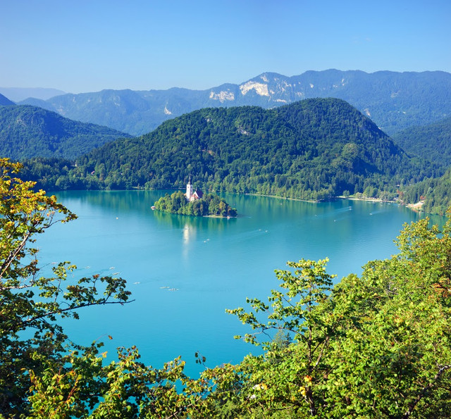 Photo from air perspective Bled lake with island slovenia europe.jpg