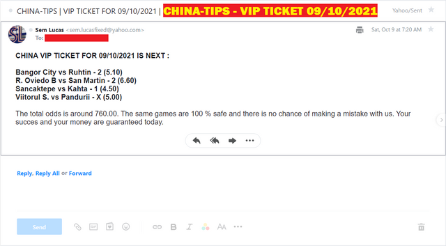 CHINA VIP TICKET FIXED MATCHES FOR 09/10/2021