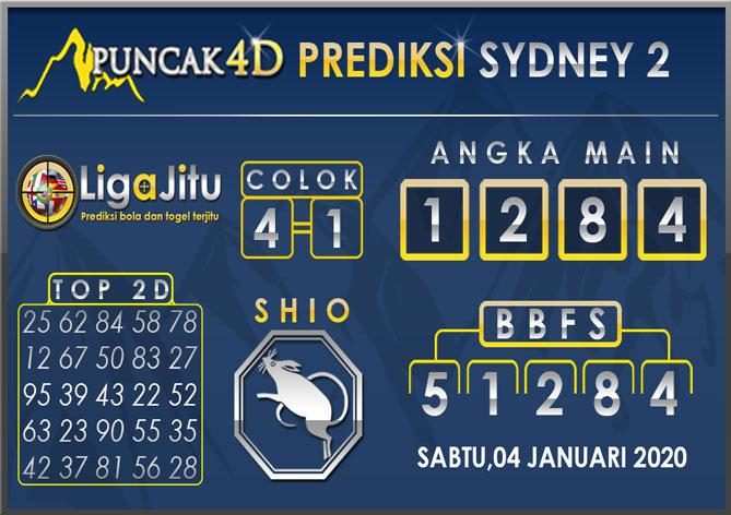 PREDIKSI TOGEL SYDNEY2 PUNCAK4D 04 JANUARI 2020