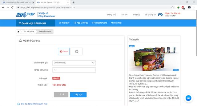 Mua thẻ Sò Garena bằng ví điện tử VTC Pay