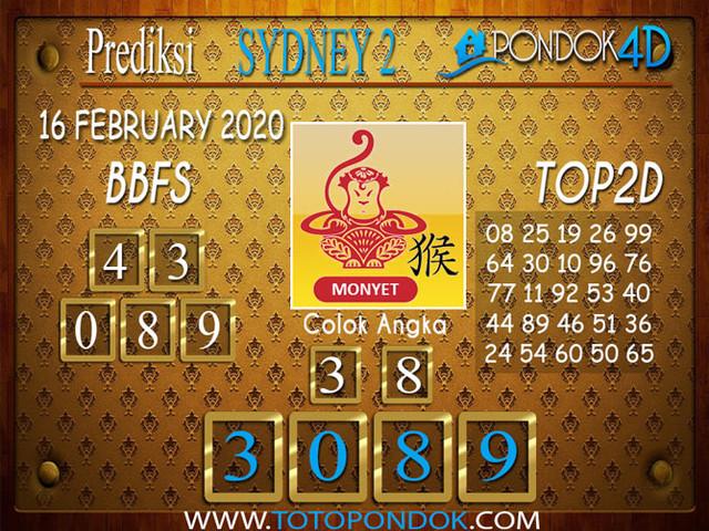 Prediksi Togel SYDNEY 2 PONDOK4D 16 FEBRUARY 2020