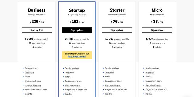 LiveSession pricing screenshot