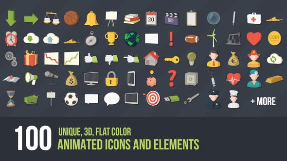 Videohive - 100 Animated 3D Icons for Explainer Video V2 - 7674910