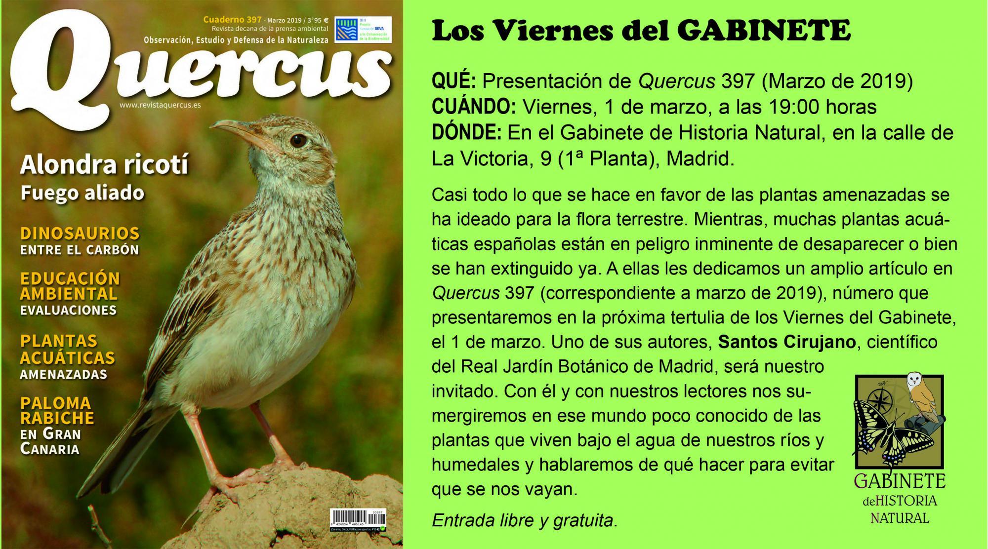 Artículo sobre plantas acuáticas españolas en la revista QUERCUS Mail