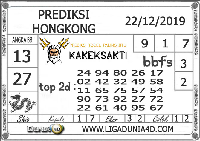 Prediksi Togel HONGKONG DUNIA4D 22 DESEMBER 2019