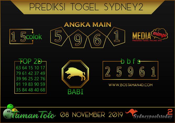 Prediksi Togel SYDNEY 2 TAMAN TOTO 08 NOVEMBER 2019