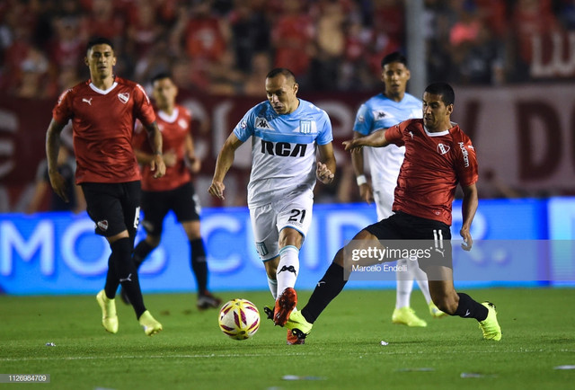 AVELLANEDA-ARGENTINA-FEBRUARY-23-Marcelo-Diaz-of-Racing-Club-fights-for-the-ball-with-Cecilio-Doming