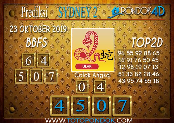Prediksi Togel SYDNEY 2 PONDOK4D 23 OKTOBER 2019