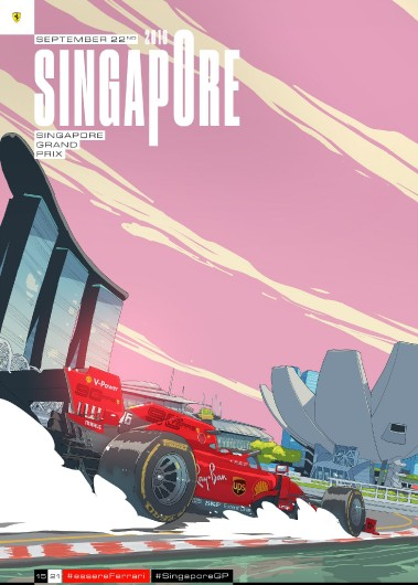 15 SINGAPORE 2019 FERRARI COVER ART POSTER