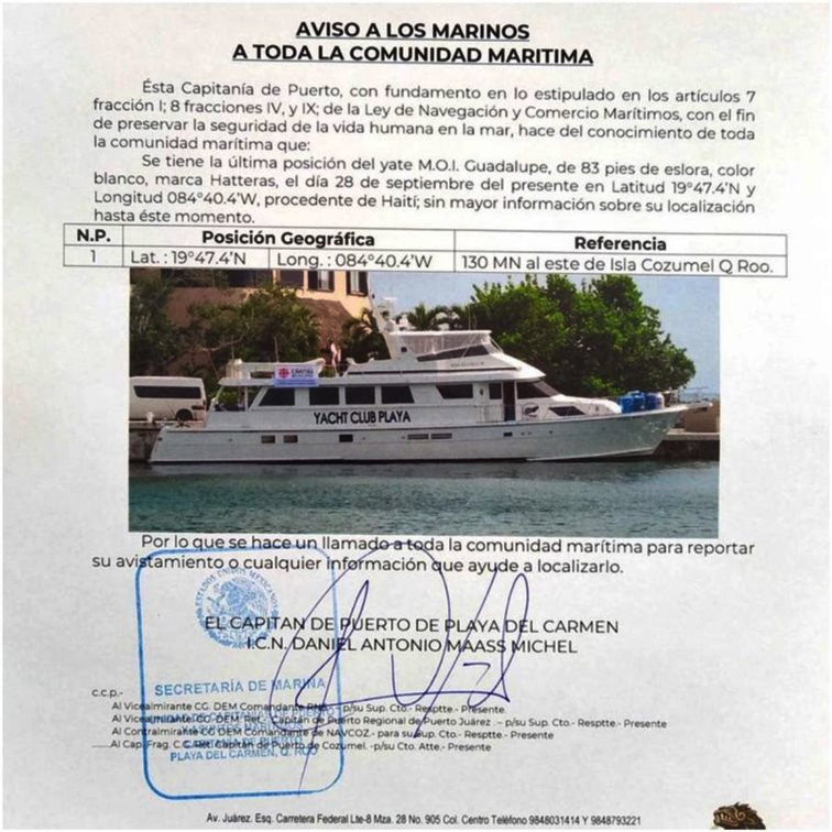 Aviso de la capitanía de Puerto a toda la comunidad maritima