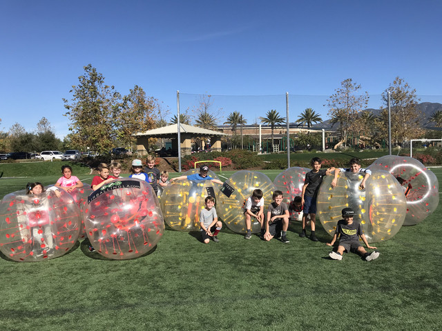 We hosted a Bubble Soccer Party in Lake Forest Orange County