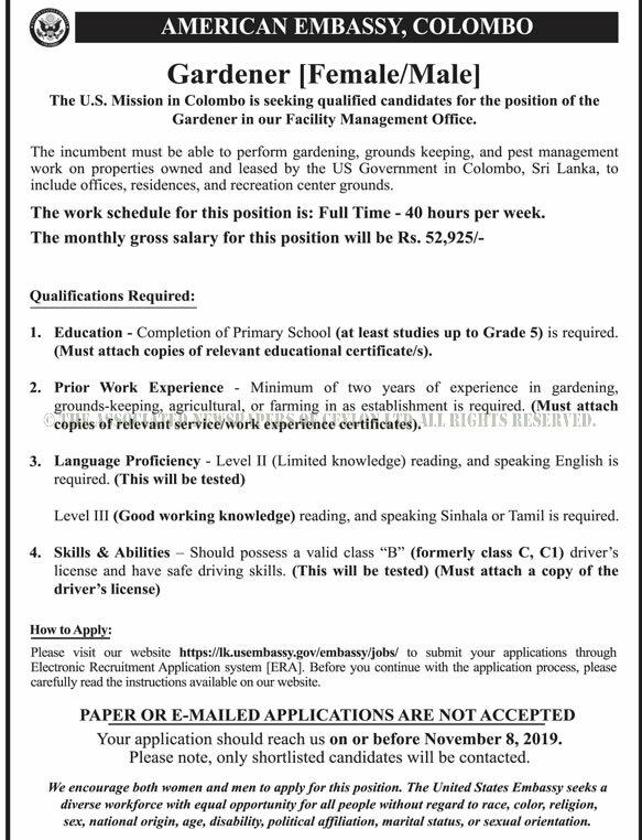 Gardener - United States Embassy in Sri Lanka - Jobs Daily