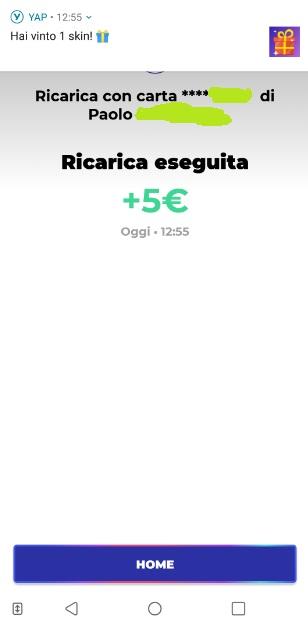 YAP L'App gratuita che ti restituisce denaro! CASHBACK RESTITUZIONE DENARO SU USO CONTO! - Pagina 2 Ricarica-skin-3