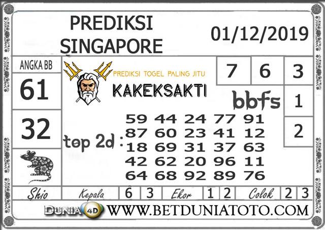 PREDIKSI TOGEL SINGAPORE DUNIA4D 01 DECEMBER 2019