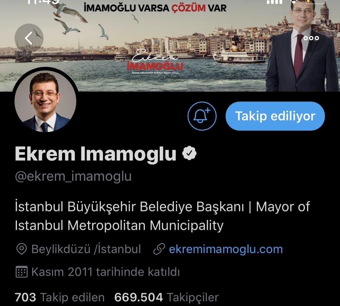 Ekrem İmamoğlu Twitter bio