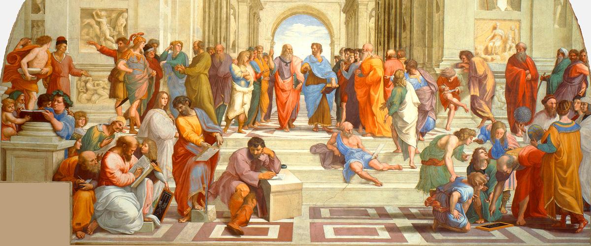 La Escuela de Atenas, obra de Rafael Sanzio en homenaje a la filosofía griega durante su redescubrimiento en la Italia del Renacimiento (1510)