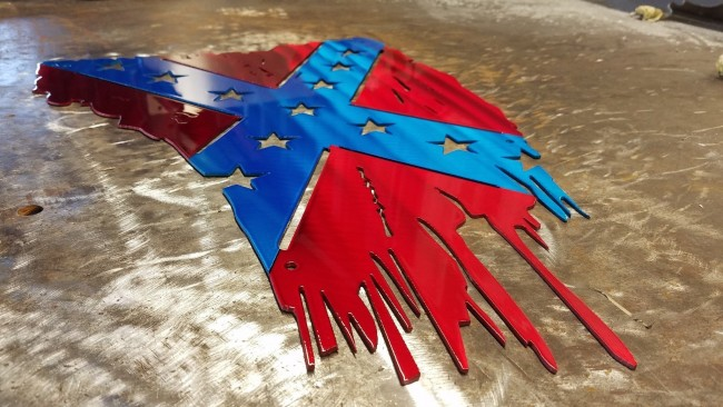 U.S CONFEDERATE FLAG TATTERED AND TORN METAL ART 2