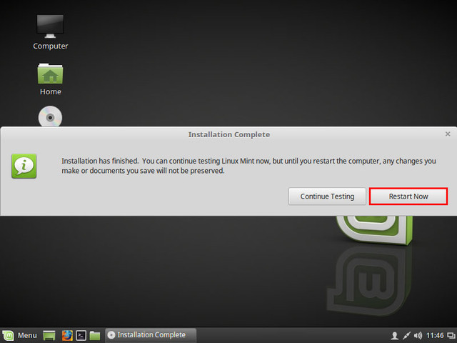 linux mint installation complete