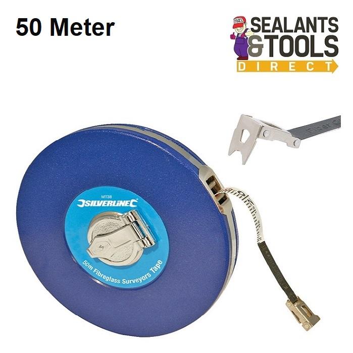 MT46 Silverline 50m Open Reel Surveyors Tape Long