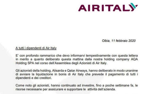 Nota diffusa sul fallimento di Air Italy dal giornale L'Unione Sarda