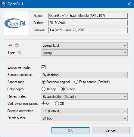 OpenGL renderer options