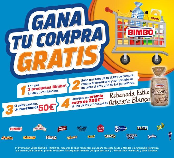Compra 2 productos Bimbo y gana un carro de la compra valorado en 50€