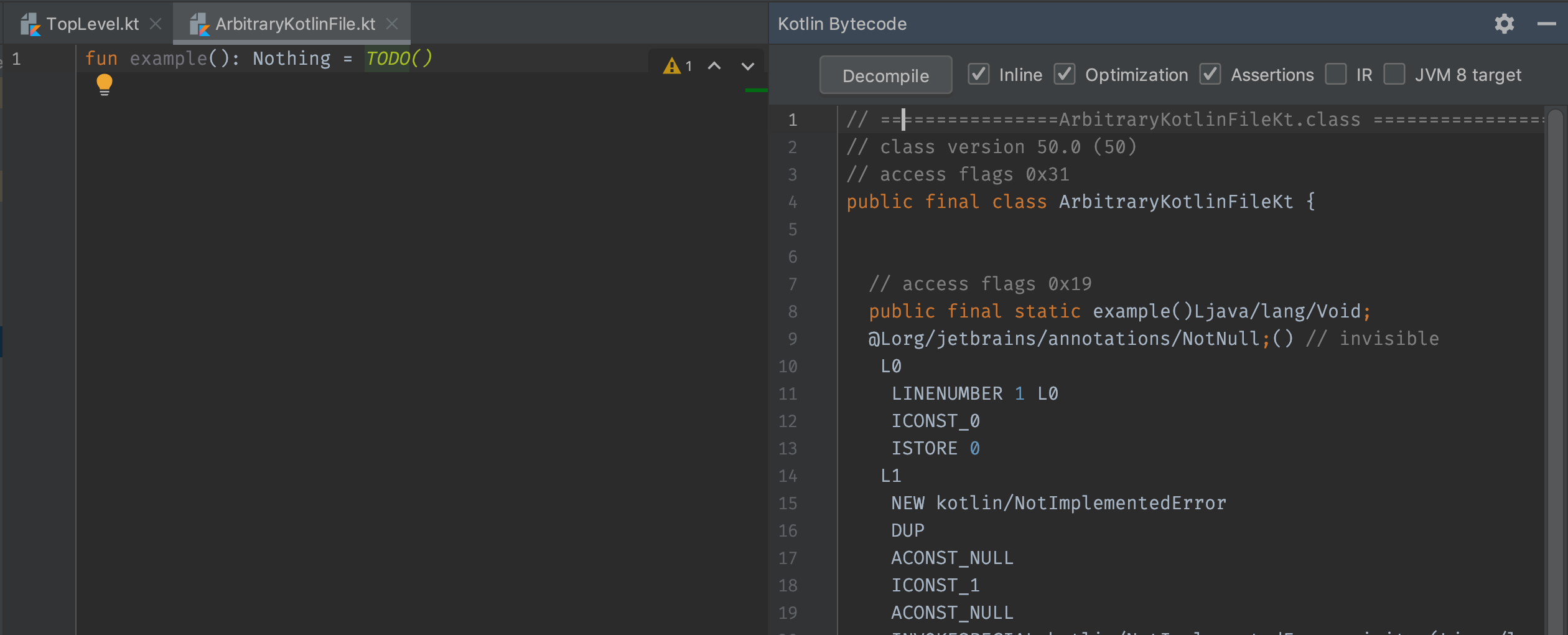 Another Kotlin file opened in the Bytecode Viewer