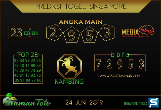 Prediksi Togel SINGAPORE TAMAN TOTO 24 JUNI 2019