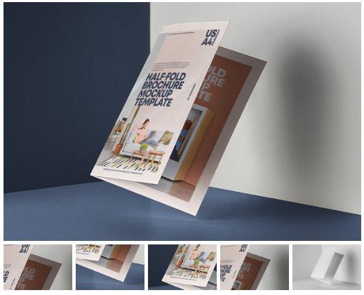 Half Fold Brochure Psd Mockup US A4 - Pixeden